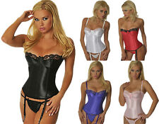 Women's Satin Boned & Underwired Corsellete Training Corset Top Body Shaper