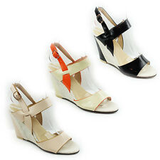 WOMENS LADIES CASUAL STRAPPY SLIM WEDGE HEEL SLINGBACK SANDALS SHOES SIZE 3-7