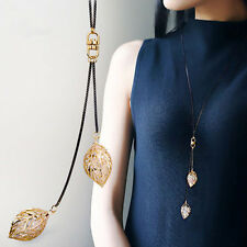 Women Fashion Jewelry Hollow-out Leaves Pendant Long Sweater Chain Necklace