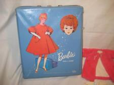 Vintage 1963 Barbie Doll Case Blue Barbie Red Cape Plus Doll and Outfits
