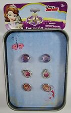 Disney Princess Sophia Belle Ariel Jasmine Cinderella Earring 3 Pair Box Set NIB