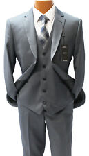 Angelo Rossi by Giorgio Cosani Charcoal Pinstripe Vested Suit Mens Suits