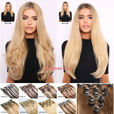 US Lady Thick Clip in Hair Extensions 8 Pieces Full Head Long As Human Hairpiece