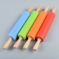 Rolling Pin Silicone Handle Stick Non Wood Kitchen Wooden Tool Roller Dough Tool