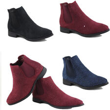 WOMENS LADIES CASUAL STUDDED LOW BLOCK HEEL CHELSEA ANKLE BOOTS SHOES SIZE 3-8
