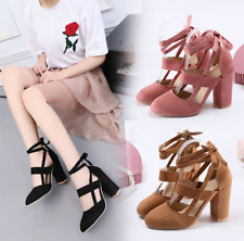 Women Fashion Classic Strappy Thick High Heels Party Shoes Suede Sandals Shoes