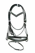 New snaffle leather bridle BLACK with white diamonte + rein full, cob & Pony
