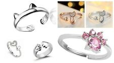 Cute Dog Cat Paw Rings or Cat Ears Ring Adjustable Open Cat Kitten Paw Claw Ears