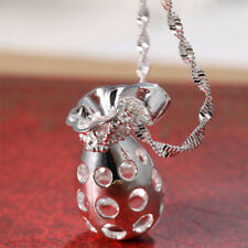 925 Silver Hollow-out Pendant Chain Chocker Necklace 24inches Women Men