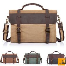Traveling Briefcase&Shoulder Laptop Bag Vintage Canvas Leather Messenger School