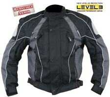 Men's Black and Grey Armored Motorcycle Tri-Tex Fabric Jackets