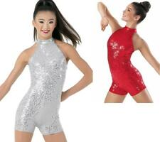 Dance Costume Small/XL Adult Red Sequin Halter Unitard Jazz Solo Competition