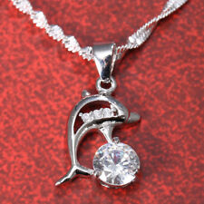 Women Man 925 Silver Animal Dolphin Pendant Chain Choker Necklace 24 inches