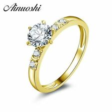 10k Solid Yellow Gold Ring 0.8 ct Round Cut Simulated Diamond