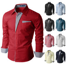 [FINAL SALE]Doublju Mens Slim Fit Cotton Flannel Long Sleeve Button Down Shirts