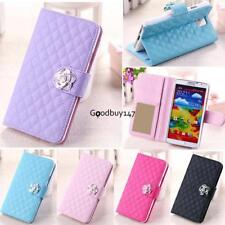 Luxury Grid Wallet Stand Flip Synthetic Leather Cover Case for Samsung GDY7