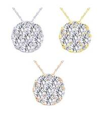 1/4 Ct Round Cut Natural Diamond Flower Pendant W/Chain In 14K Gold Chain