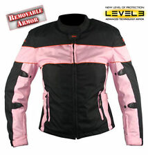 Xelement Ladies Black and Pink Tri-Tex Fabric Motorcycle Jacket