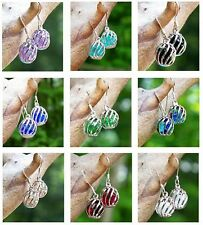 Eco Friendly Jewelry ~ Recycled Vintage Glass~ Silver Oval Cage Pierced Earrings