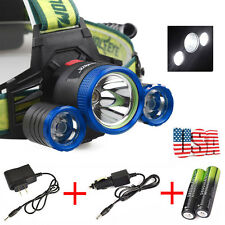 Tactical 36000LM 3*CREE XM-L T6 LED Headlamp Head Light Rechargeable+Charger USL