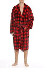 Ultra Soft Plaid Velour Robe for Men with Shawl Collar Warm Winter Indoor Cozy