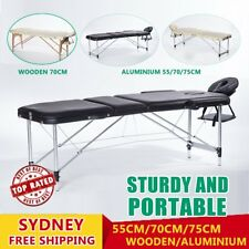 Portable Aluminium Wooden Massage Table 3 Fold Bed Therapy Waxing 55/70/75 RO