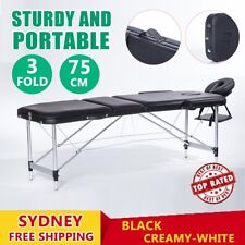 Portable 3 Fold Aluminium Massage Therapy Table Beauty Waxing Bed 75cm OZ RO