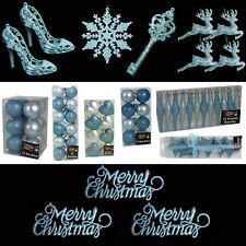 Ice Blue Christmas Tree Decorations – Baubles Hearts Cones Beads Hooks