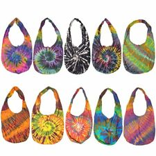Colourful Tie Dye Shoulder & Crossbody Bag Messenger Purse Thai Handmade - Black