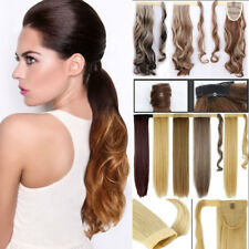US Real Clip In human Hair Extensions Pony Tail Wrap Around Ponytail Synthetic