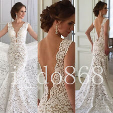 2018 New Sleeveless Deep V Back Mermaid Lace Bridal Gowns Wedding Dresses Gown