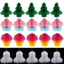 20pcs Honeycomb Christmas Ornaments Holiday Xmas Ceiling Decor Bell Tree Cupcake