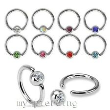 2pc. 20g 18g 16g 14g Surgical Steel CZ Captive Bead Ring Ears Catilage Nose Ring