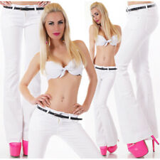 Womens Jeans New FLARE Cut Sexy Low Rise Hipster White Pants Size 6 8 10 12 14
