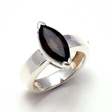 Natural Smokey Quartz 925 Solid Sterling Silver Ring Size US 8.25 FREE SHIPPING