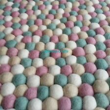 Felt Ball Rug - Light Pink Turquoise Pale Yellow & White Kids Nursery Mat Carpet
