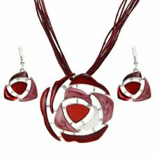 Leather Rope Chain Pendant Necklace Drop Earrings Crystal Jewelry Sets