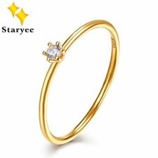 Certified Natural Diamond Rings 0.05CT VS H EX Solid 18K Au750 Yellow Gold