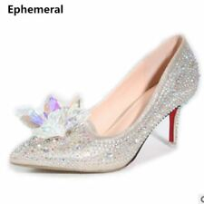 Luxury crystal wedding shoes pointed toe high heels sexy party pumps stiletto vi