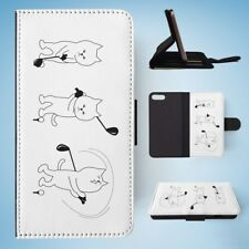 CAT PLAYING GOLF FLIP WALLET CASE COVER FOR IPHONE 8 PLUS