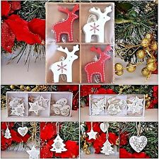 Christmas tree decorations with reindeer red+white,hearts,stars,elegant gold