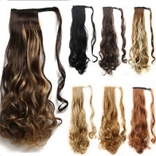US Long Ponytail Clip In Hair Extension Wrap Pony Tail Fake Hairpiece as human
