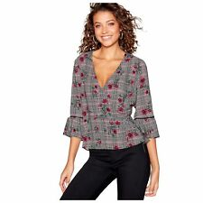 Red Herring Womens Black And Pink Mini Checked Floral Print Wrap Top