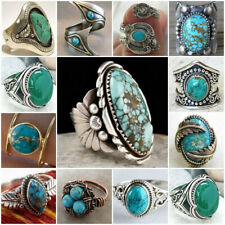 Vintage Women Jewelry 925 Silver Ring Turquoise Gem Anniversary Wedding Size6-10