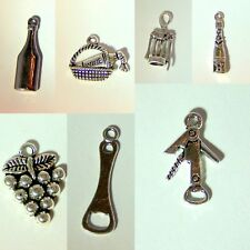 Wine Glass Charms 7 pc Set Sterling Silver Plated/ Wine Markers Charm Bracelet