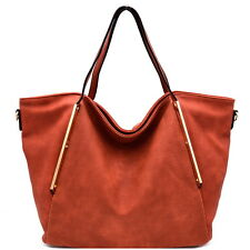 Perforated Hardware Accent Soft Shopper Tote Orange