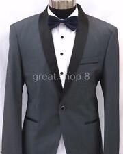 Men's CHARCOAL GREY Tux Suit Jacket - TUXEDO SATIN TRIM - Size L to XXL 80% WOOL