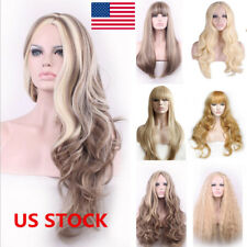 7 Styles Women Long Straight Curly Wavy Hair Party Cosplay Bobo Full Wig+Wig Cap