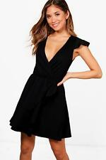 NEW Boohoo Womens Melanie Wrap Frill Detail Skater Dress in