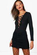 NEW Boohoo Womens Tall Maisie Ribbed Lace Up Bodysuit in